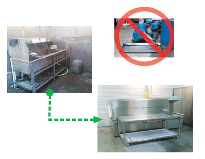 Fotografia przedstawia myjkę przemysłową przed czyszczeniem i po czyszczeniu.